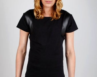 Men's Black T-Shirt w. Geometric Faux Leather Detail, Dark Avant Garde Menswear, Designer Clothing, by LENA QUIST