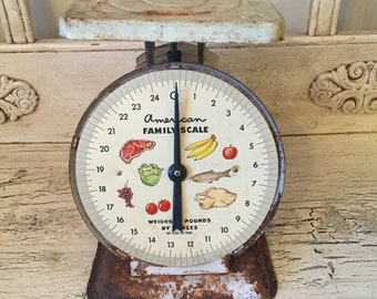 Vintage Rusty White Kitchen Scale - American Family Scale - Very Rusty