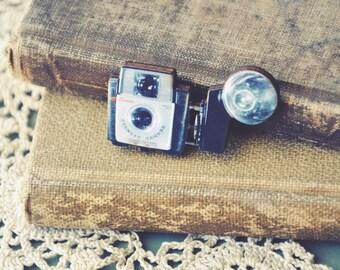 vintage camera brooch.