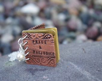 Pride and Prejudice Mini Metal Book Necklace