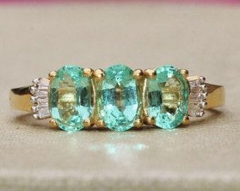 GENUINE Columbian Emerald & Diamond Ring,Multi Gemstone Ring,Stacking Ring,Anniversary Band,Womens 14K Vermeil Emerald Ring,May Birthstone