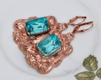 NEW Vintage Rose Gold Aqua Rhinestone Jewel Drop Earrings,Ornate Victorian Style Dangle Drop,Aquamarine Turquoise Blue,Copper Rose Gold