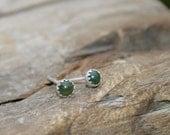 4mm Nephrite Jade Super Tiny Button Post Earrings. Olive Green Jade and Sterling Silver Bezel Set Stud Earrings. Dark green.