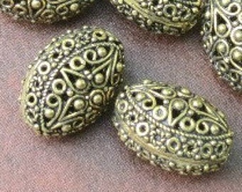 Large Gold Filigree Oval Bead - 16X20mm - By The Pair