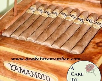 10 Edible cigars for groom's cakes or birthday cakes. Gumpaste cigars for cake decorating.