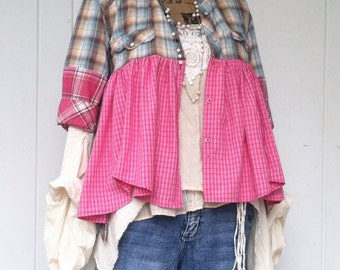 Recycled shabby chic gypsy artist smock, cowgirl chic, patchwork shirt, magnolia pearl inspired