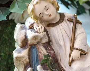 Antique Christ Child with Dove Statue, Crown of Thorns