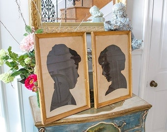 Vintage Pr Framed Silhouettes, Estate Find