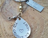 Personalized Fishing Lure Spoon or Spinner Keychain With Extra Piece For More Personalization Hand Stamped