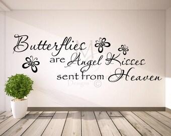 Vinyl Decal Butterflies Angel Kisses-Vinyl Decals Master Bedroom-Butterfly Vinyl Decal