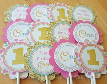 Cupcake Toppers, Pink, Mint, Gold Glitter, Birthday, Set of 12, Personalized, Cupcake picks, Baby Shower, 1st Birthday, Confetti, One