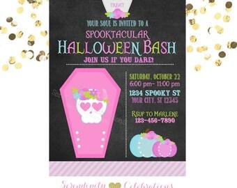 Sugar Skull Invitation, Chalkboard Invitation,  Printed Invitation, Halloween Bash, Halloween Invite, Day of the Dead, Birthday Invite