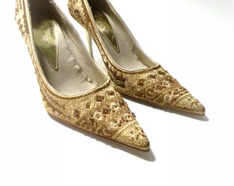 Stiletto HIGH Heels Shoes 3.5 Inch Nine West NEW Old Stock Gold-Sequined Beaded Wedding Bride Bridesmaid Mother to Be