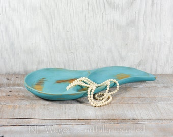 Shabby chic jewelry tray, rustic home decor, distressed turquoise