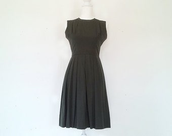 1960s Olive Green Fit and Flare Dress 60s Vintage Mod Cotton Scout Box Pleats Full Pleated Skirt Small Medium Fall Autumn Garden Party Dress