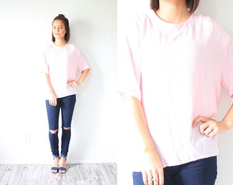 Vintage light pink oversized blouse // boho baby blouse // slouchy top // slouch shirt // boxy top // pink silky pink top // spring summer