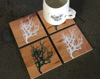 Tree Coaster Set, Housewarming Gift, Kitchen Gift, Reclaimed Wood, Hand Printed Coasters