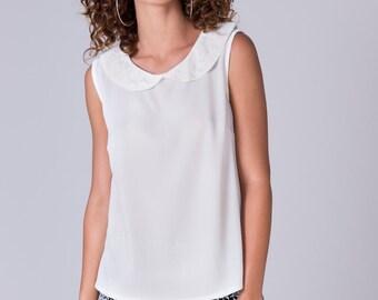 White Sleeveless top Collared white Shirt romantic blouse white womens blouse Peter pen collar shirt