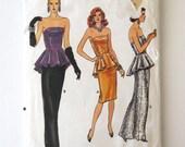 1980s Evening Dress Pattern Vogue 9783 Womens Strapless Sheath Dress Sewing Pattern Peplum Formal Prom Dress Pattern Sz 8 10 Bust 31.5-32.5
