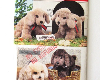 """1980s Stuffed Puppy Dog Pattern Butterick 5876, Sitting or Standing 12""""L  Stuffed Animal Toy Sewing Pattern, Dog Doll, New Baby Gift"""