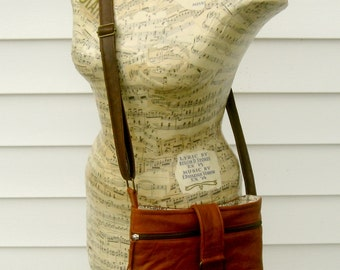 Recycled Leather Crossbody Handbag in Warm Brown - Upcycled Leather Bag
