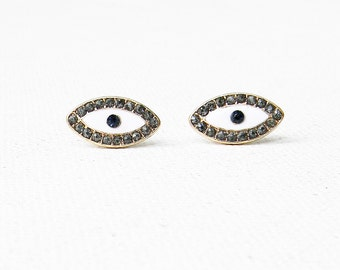 Vintage Evil Eye Earrings Swarovski Stones