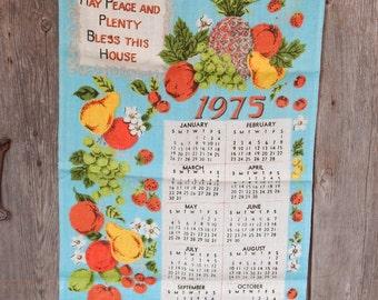 Vintage Printed Linen Kitchen Calendar 1975