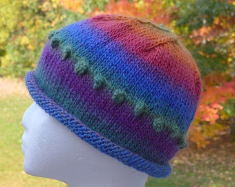 colorful child's hat with bobbles