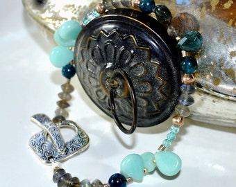 Beaded Gemstone Bracelet-Aqua, Blue, Green Bracelet- Bohemian Silver Bracelet in Amazonite