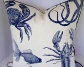 Oceania Indigo Sealife Thomas Paul Pillow Cover and Valance