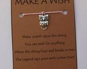 OWL Wise WISH STRING Bracelet Charm Band Cord Color Choice Friendship Bracelet