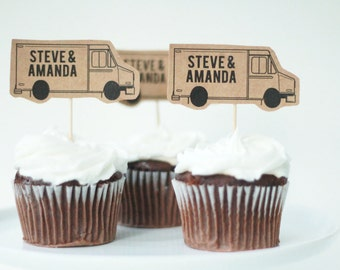Food Truck Cupcake Toppers, Cupcake Toppers