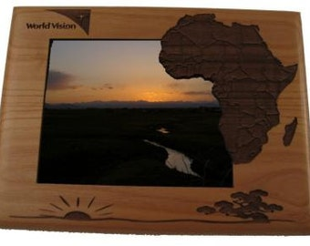Personalized Africa Photo Frame - Engraved Wood Picture Frame - Customized Africa designed frame - Vacation Travels Memory Gift