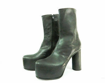 Hiden 2 inch hidden platform ankle boots made of genuine black leather, made to order any size