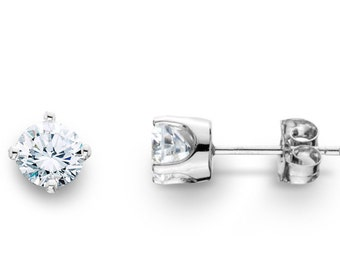 Round Diamond Studs .33CT 14K White Gold Earrings