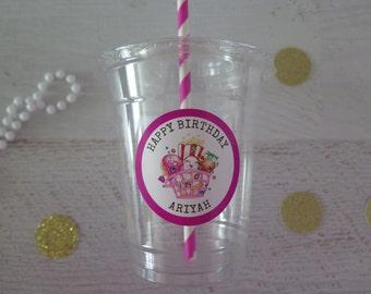 Shopkins • Plastic Disposable Party Favor Cups w/ Lids, Straws & Tags • Set of 12