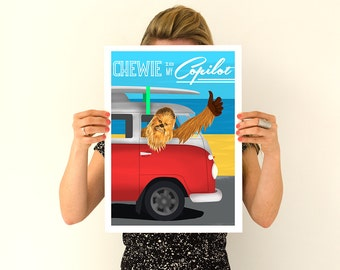 Chewbacca Star Wars Poster Art Print Wall Decor Fiction Sci Fi, Funny Gift Idea,  Gift  for him TVH205WA3