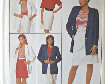 Simplicity Pants, Shorts, Skirt, Unlined Jacket and Top Pattern, Sizes 16, 18, 20, Vintage 1988