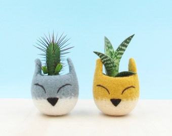 Succulent planter / Fox head planter / cactus pot / kitsune vase/ warming gift / Fox lover gift / home decor / cabin decor / Set of two