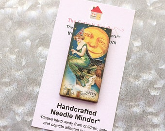 Witches and Devils Needle Minder : Pick One magic witch magnet cross stitch hand embroidery tool vintage look October Halloween