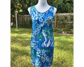 SALE 90s Hawaiian Print Dress