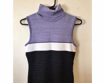 90s Thick Striped Purple and White Sleeveless Turtleneck Tank