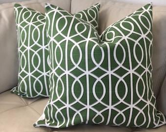 Two, Green Lattice Pillow, Green Trellis Pillow, Geometric Decorative Pillow, 20X20, Green Pillow, Pair
