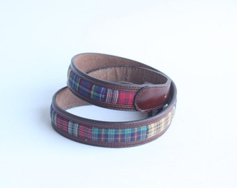 Vintage Fossil Women's Brown Leather Plaid Belt
