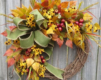 Fall Wreath, Fall Crabapple Berry Wreath, Fall Black - Eyed Susan Wreath, Fall Bow in Green