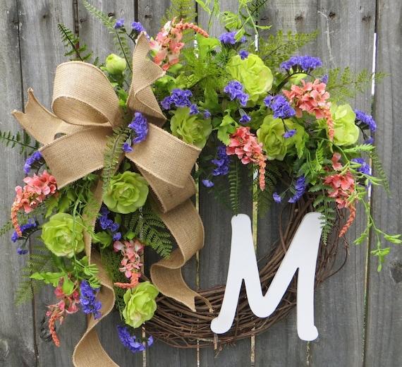 Monogram Wreath, Spring / Summer Wreath, Burlap Door Wreath, Spring / Summer Wreath with Wildflowers, Mother's Day Gift, Housewarming Gift