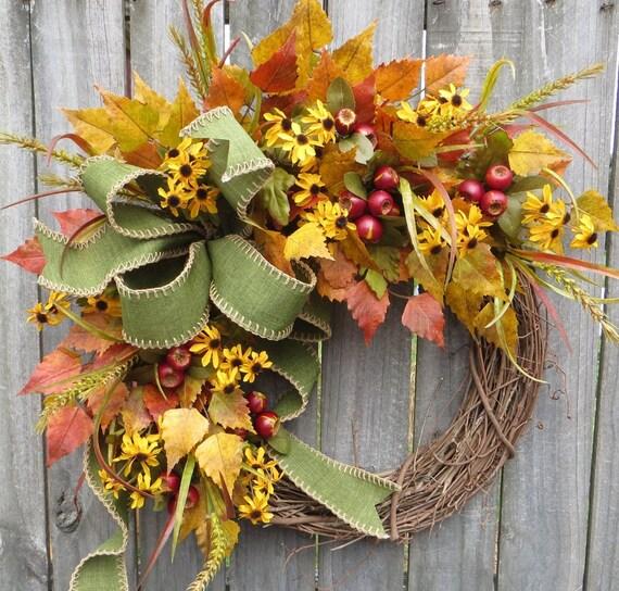 Fall Wreath, Fall Crabapple Berry Wreath, Fall Black - Eyed Susan Wreath, Fall Bow in Green