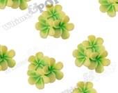 21mm - Lime Green Plumeria Bouquet Cabochons, Plumeria Cluster Cabochons, Plumeria Cabochons, Flat Back Plumerias, Flower Cabs  (R9-075)