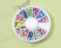 1 - Nail Art Wheel 3D Nail Art Tips Neon Geometric Star Heart Tear Drop Rectangle Shapes, 60mm Wheel Case, 2mm to 3mm (C1-26)