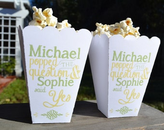 15 Personalized Chalkboard Style Popped the Question Engagement Party Popcorn Boxes Favors